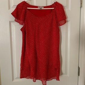 Tops - Short sleeved red and white dotted shirt